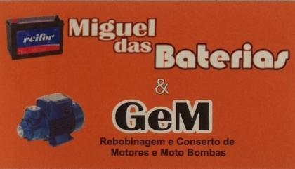 Logomarca Miguel das Baterias venda manutenção e carga baterias em Torres / RS