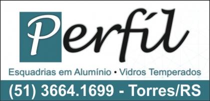 Logomarca Perfil Vidros e Alumínios - Esquadrias Vidro Temperado em Torres / RS